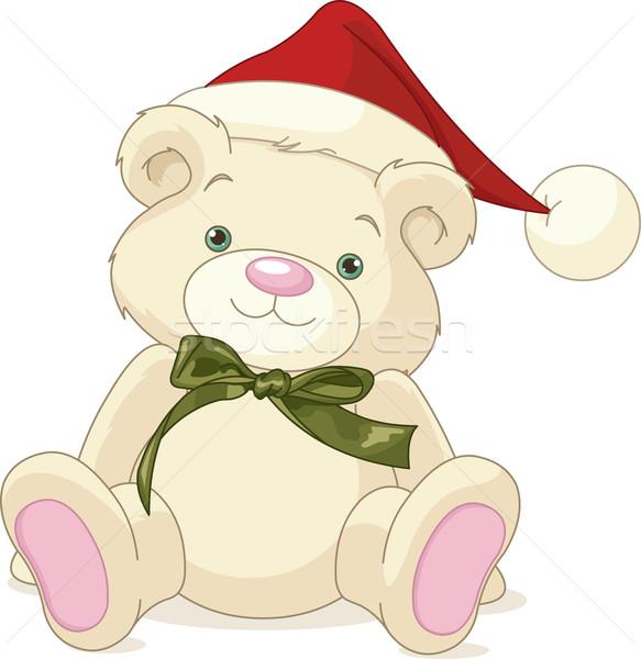 Christmas teddybeer ruw schilderij hoed lint Stockfoto © Dazdraperma