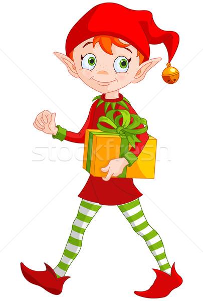 Natal elfo ilustração bonitinho feliz caixa Foto stock © Dazdraperma