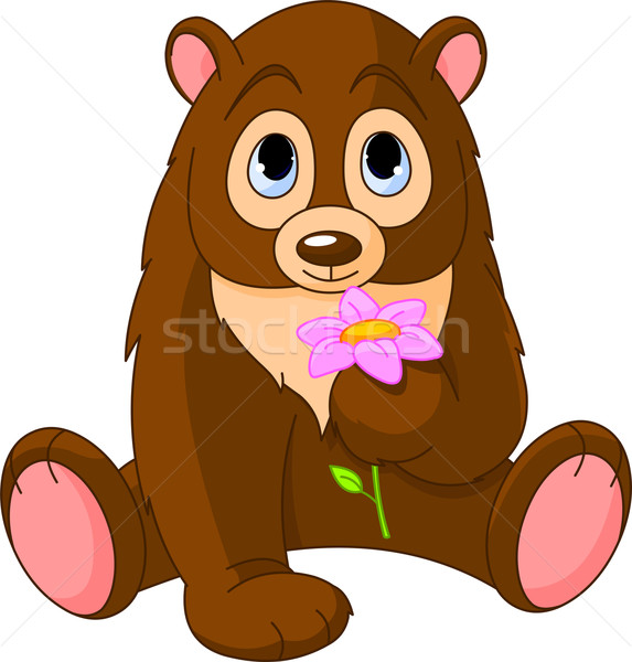 Cute ours fleur fleur rose anniversaire Photo stock © Dazdraperma