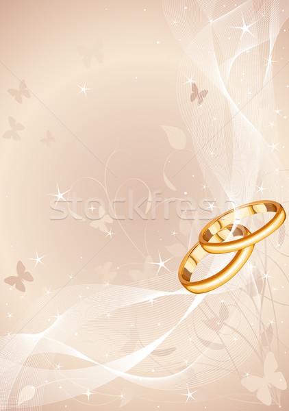 Jegygyűrűk terv copy space esküvő gyűrű házasság Stock fotó © Dazdraperma