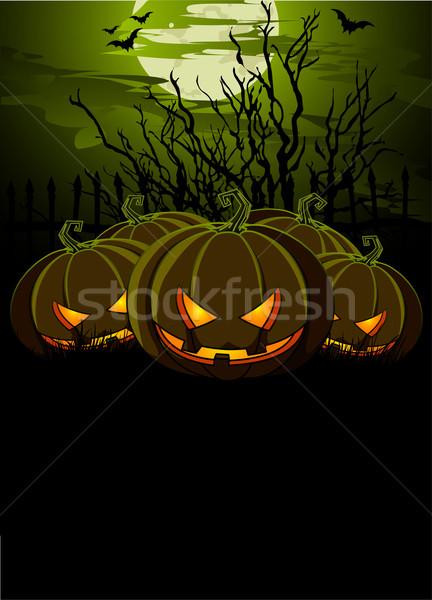 Halloween illustratie pompoenen banners maan groene Stockfoto © Dazdraperma
