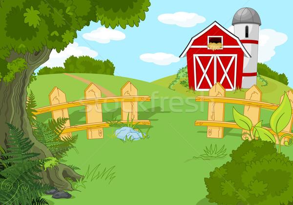 Idilliaco farm panorama illustrazione casa Foto d'archivio © Dazdraperma