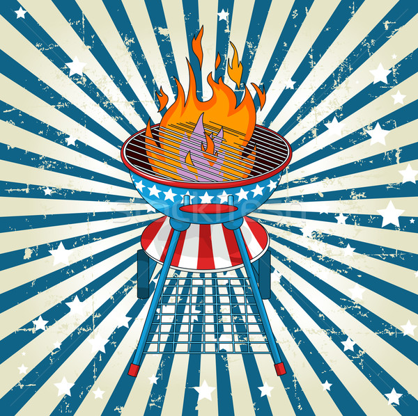Patriotic radial barbeque background Stock photo © Dazdraperma