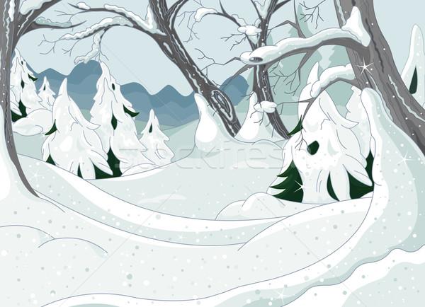 Inverno foresta panorama mondo sfondo pittura Foto d'archivio © Dazdraperma