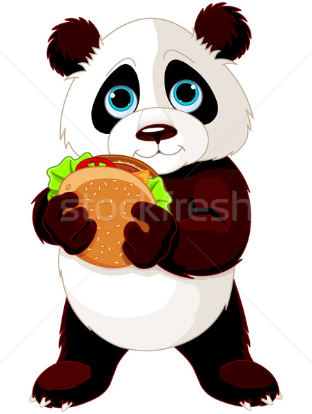 Panda eats hamburger Stock photo © Dazdraperma