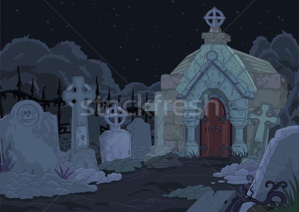 Mezarlık örnek gece Gotik kapı ölüm Stok fotoğraf © Dazdraperma