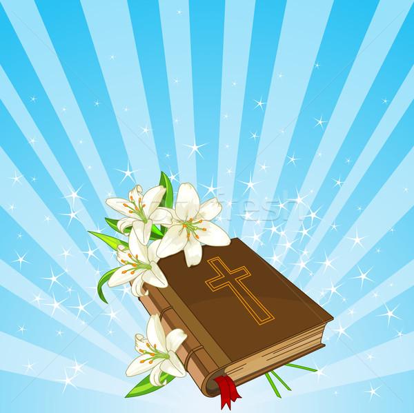 Bijbel lelie bloemen Pasen plaats kaart Stockfoto © Dazdraperma