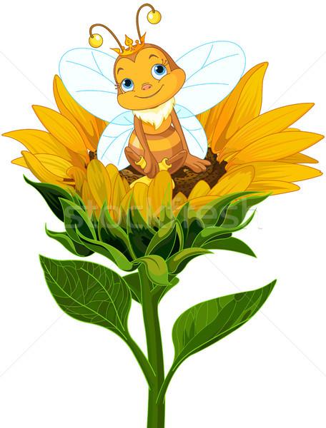 Kraliçe arı ayçiçeği örnek sevimli sevmek Stok fotoğraf © Dazdraperma