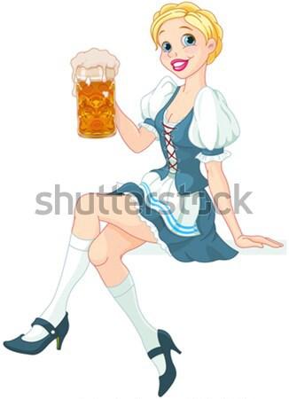 ストックフォト: オクトーバーフェスト · 少女 · 面白い · 飲料 · ビール · 笑顔