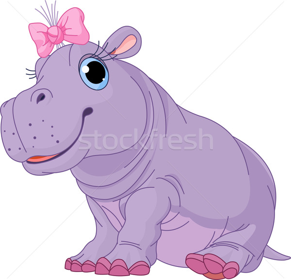 Cartoon baby Hippo girl Stock photo © Dazdraperma