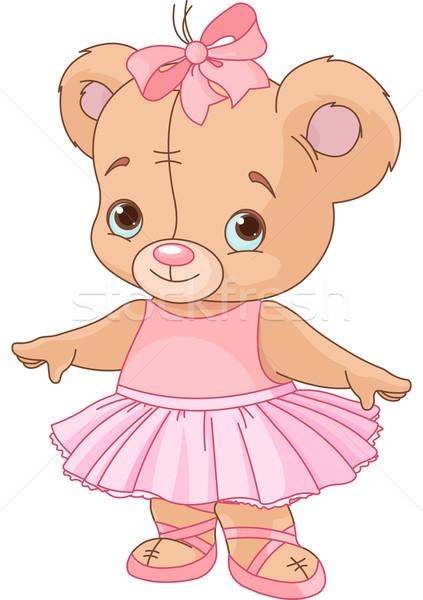 Stockfoto: Cute · teddybeer · ballerina · meisje · kind · speelgoed