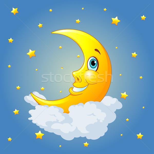 Photo stock: Souriant · lune · ciel · sourire · visage · nuit