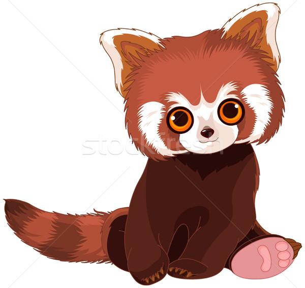 Сток-фото: красный · Panda · портрет · иллюстрация · Cute · искусства