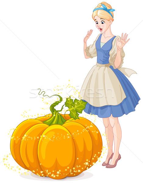 Cinderella Surprised by a Magical Pumpkin  Stock photo © Dazdraperma