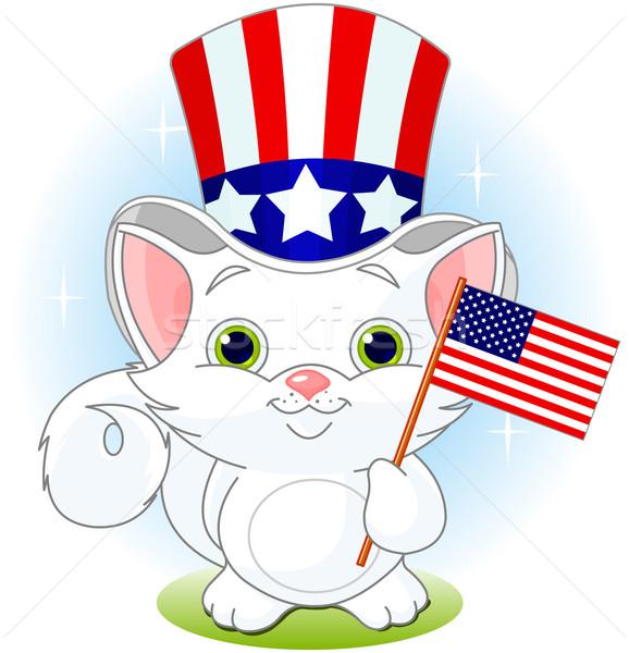 Dördüncü kedi yavrusu beyaz amerikan bayrağı kedi Stok fotoğraf © Dazdraperma