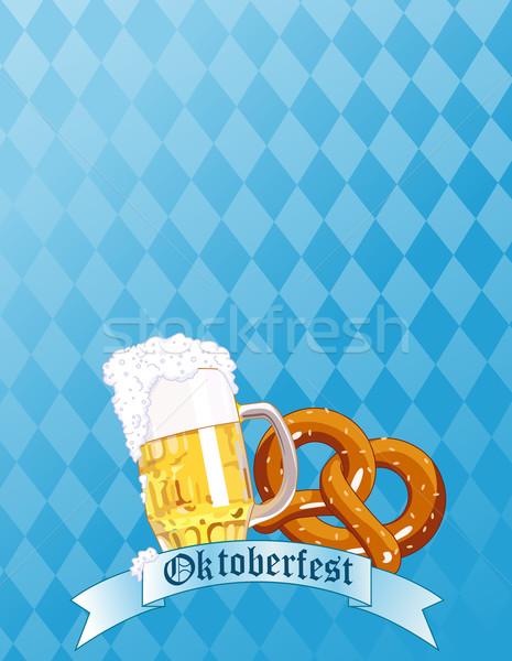 Oktoberfest kutlama bira tuzlu kraker cam eğlence Stok fotoğraf © Dazdraperma