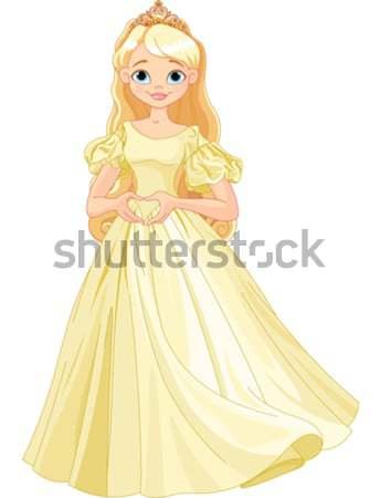 Gyönyörű hercegnő illusztráció esküvő nők szív Stock fotó © Dazdraperma