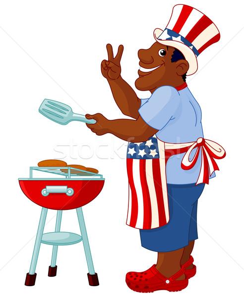 Férfi főzés hamburger vicces nagybácsi kalap Stock fotó © Dazdraperma