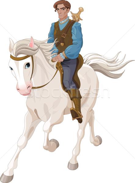 Príncipe encantador equitação cavalo ilustração homem Foto stock © Dazdraperma