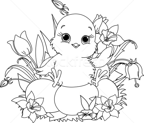 Happy Easter chick. Coloring page Stock photo © Dazdraperma