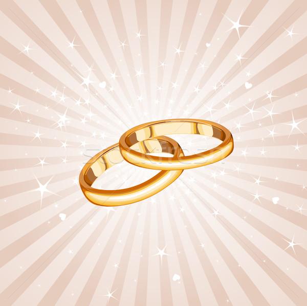 Trouwringen bruiloft liefde metaal ring kaart Stockfoto © Dazdraperma