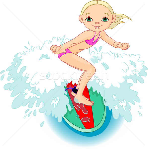 Stock photo: Surfer girl in Action