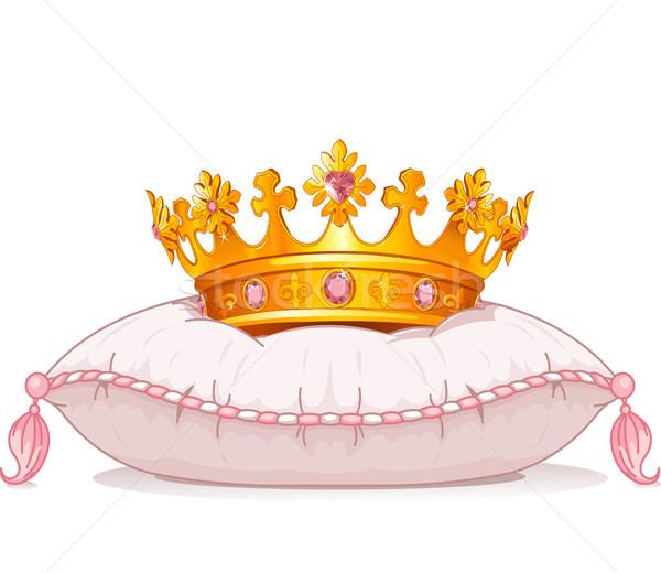 Stockfoto: Kroon · kussen · aanbiddelijk · roze · foto · fantasie