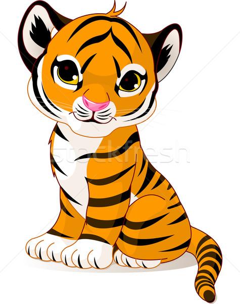 かわいい 虎 カブ 文字 座って 猫 ストックフォト © Dazdraperma
