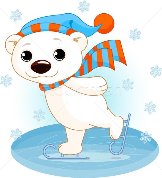 Urso polar gelo patins ilustração bonitinho projeto Foto stock © Dazdraperma