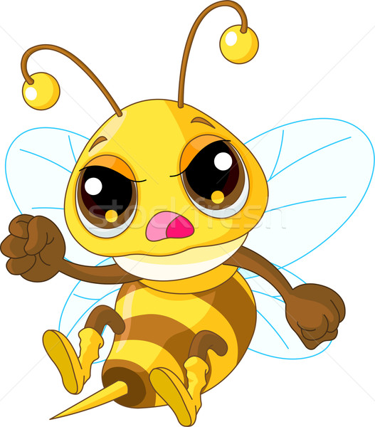 Drăguţ supărat albină ilustrare zbura negru Imagine de stoc © Dazdraperma