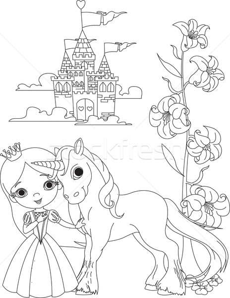 Beautiful princess and unicorn coloring page Stock photo © Dazdraperma