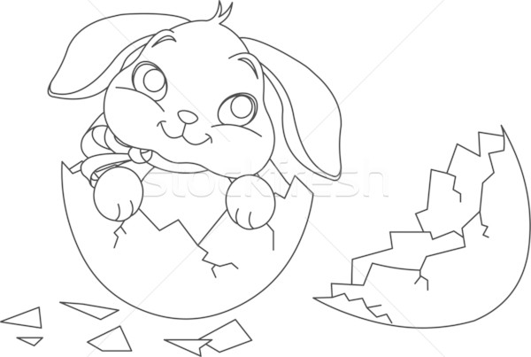 Easter bunny surprise. Coloring page Stock photo © Dazdraperma