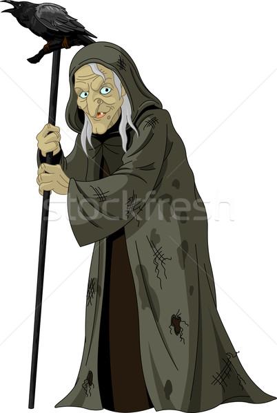 Stok fotoğraf: Cadı · kuzgun · örnek · eski · gece · kadın