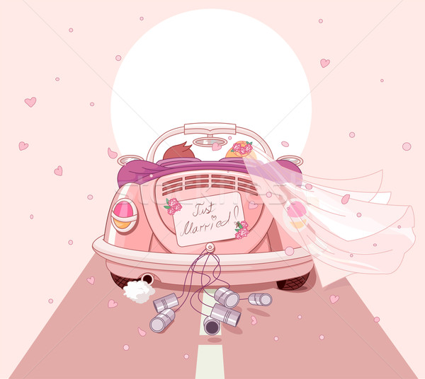 Friss házasok autó szeretet retro kártya rózsaszín Stock fotó © Dazdraperma