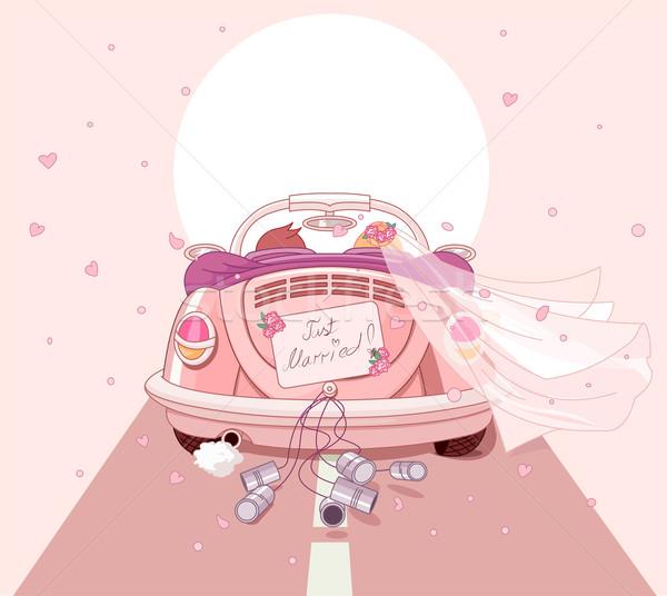автомобилей любви ретро карт розовый Сток-фото © Dazdraperma