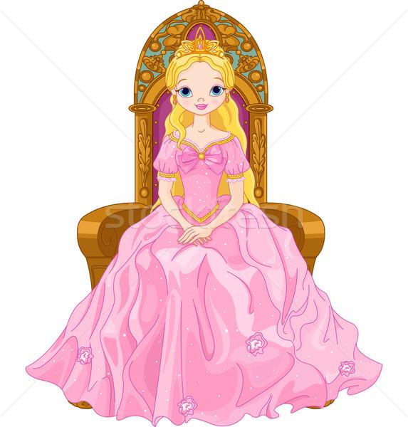 Jonge koningin illustratie vergadering troon vrouw Stockfoto © Dazdraperma