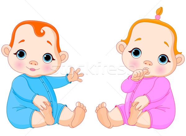 Tweelingen illustratie twee mooie baby meisje Stockfoto © Dazdraperma