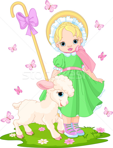 Little shepherdess with  lamb Stock photo © Dazdraperma