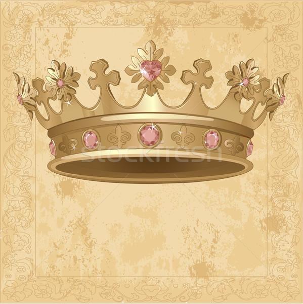 Koninklijk kroon mooie goud diamant tekening Stockfoto © Dazdraperma