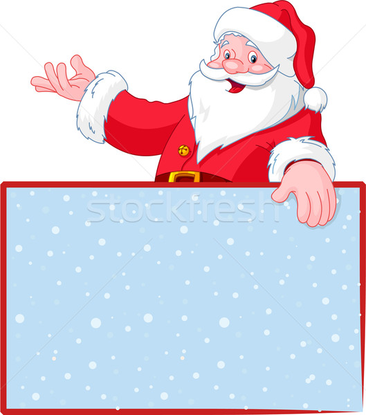 Christmas Santa Claus over blank greeting (place) card Stock photo © Dazdraperma