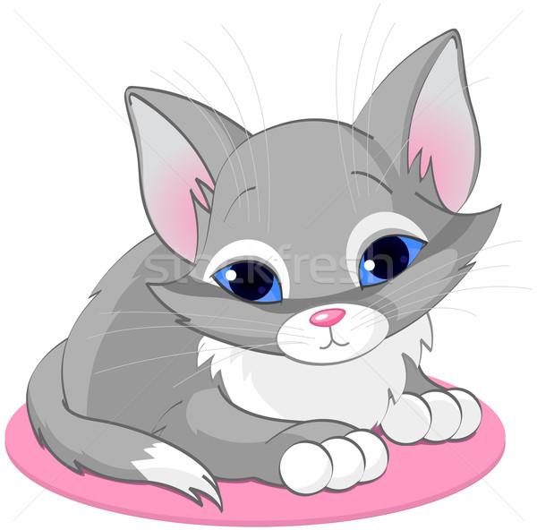 Сток-фото: сидят · котенка · иллюстрация · Cute · серый · весело
