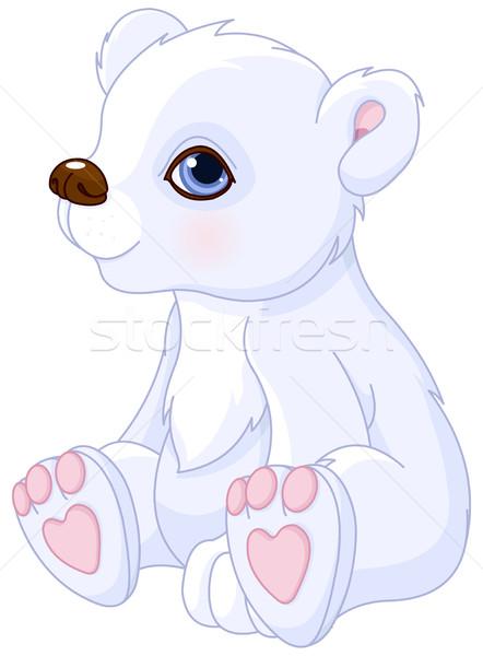 Orso polare illustrazione cute seduta natura arte Foto d'archivio © Dazdraperma