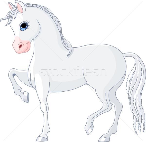Hermosa caballo ilustración caballo blanco belleza blanco Foto stock © Dazdraperma