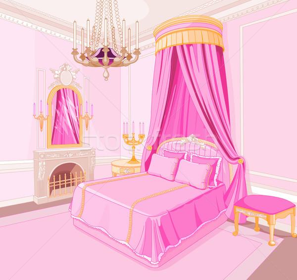 Stockfoto: Prinses · slaapkamer · interieur · magie · licht · achtergrond