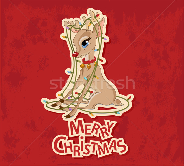 Stock photo: Christmas Reindeer Tangled in Garland