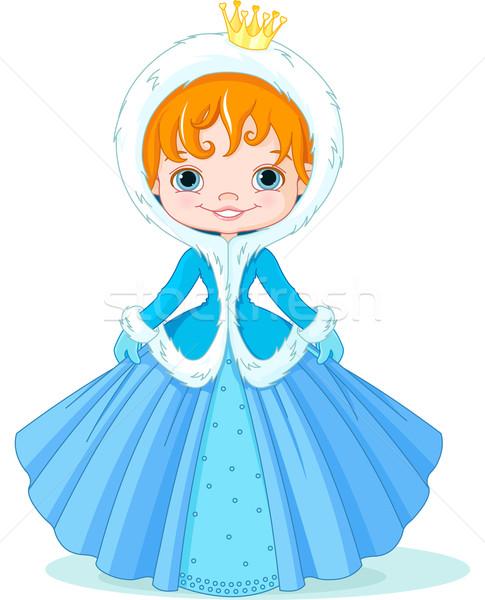 Kicsi tél hercegnő illusztráció aranyos lány Stock fotó © Dazdraperma