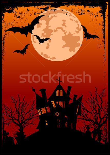 Halloween background with haunted house Stock photo © Dazdraperma