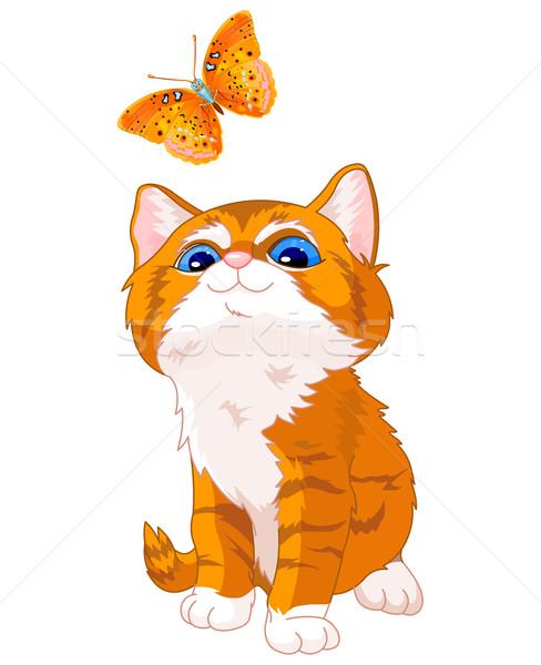 Stockfoto: Kitten · naar · vlinder · cute · gelukkig · natuur