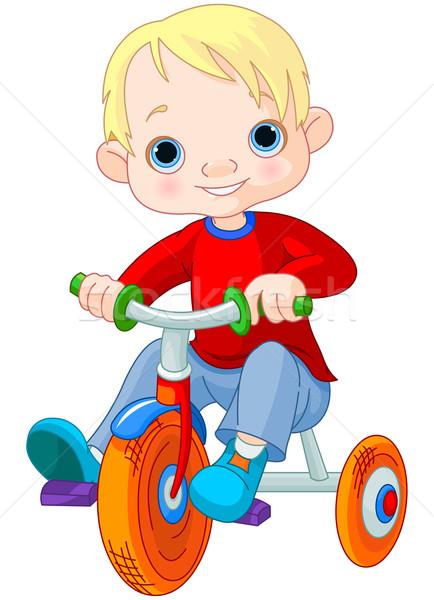Erkek üç tekerlekli bisiklet örnek sevimli spor çocuk Stok fotoğraf © Dazdraperma