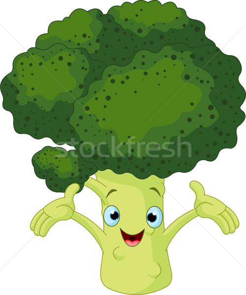 brócolis algo desenho animado bonitinho olho ilustração